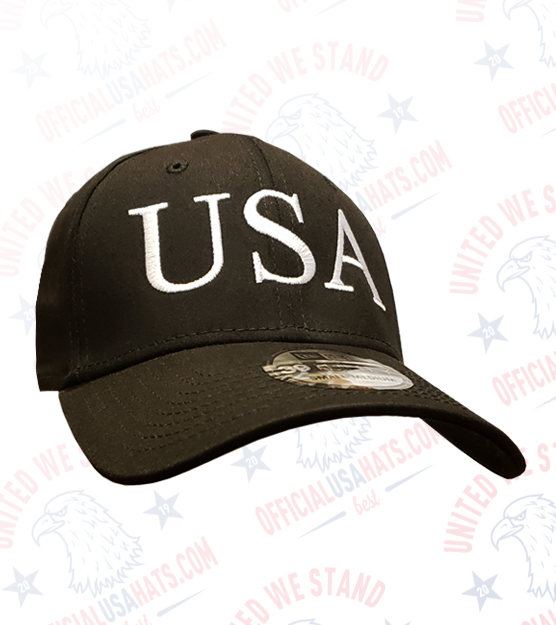 Black USA Hat with White USA text - Front