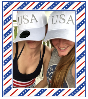 Girls wearing Official White USA Hats