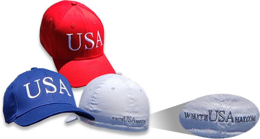 Hat backs with white USA hat link showing