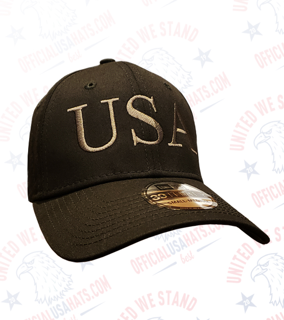 Black USA Hat with Dark Gray USA text - Front